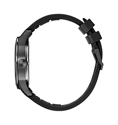 Hugo Men's #Create Quartz Black IP and Rubber Strap Casual Watch, Color: Black (Model: 1530014)