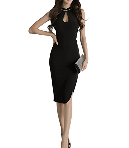 GAMT OL Fashion Slim Package Hip Dress Sexy Retro Slits Cheongsam Dresses Skirt Black M (Cheap Fancy Dress Outfits)