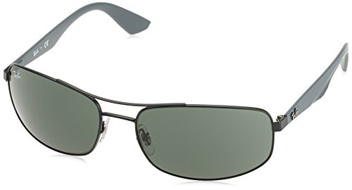 Ray-Ban METAL MAN SUNGLASS - MATTE BLACK Frame GREY GREEN Lenses 61mm Non-Polarized by Ray-Ban