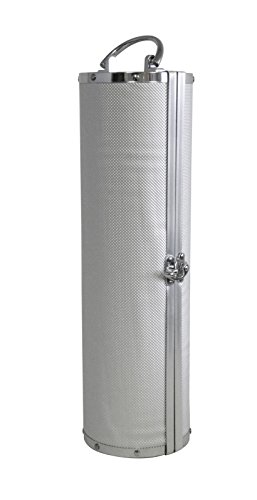 Cylindrical Aluminum Silver Wine Upright Carrying Case with Handle Black Lining Protect Your Bottle While Traveling Aluminum Wine Case