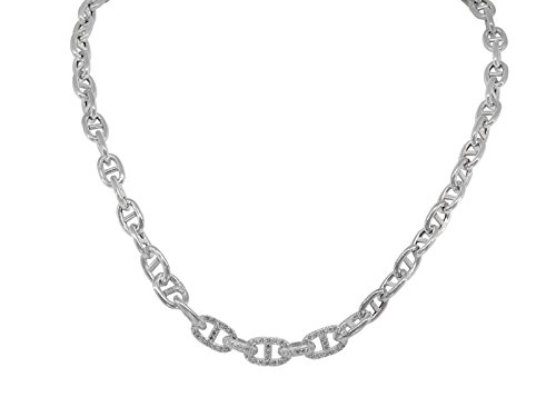 Fronay Co .925 Sterling Silver Designer CZ Marine Links Rhodium Plated Necklace, Length 17'' by Fronay Collection
