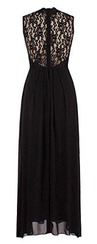 Vestido De Sin Mangas Noche Fiesta Negro Largo Sin La Mujer Elegante En Gasa Por Cóctel Encaje Cuello V DELEY Respaldo wYq7TXfx