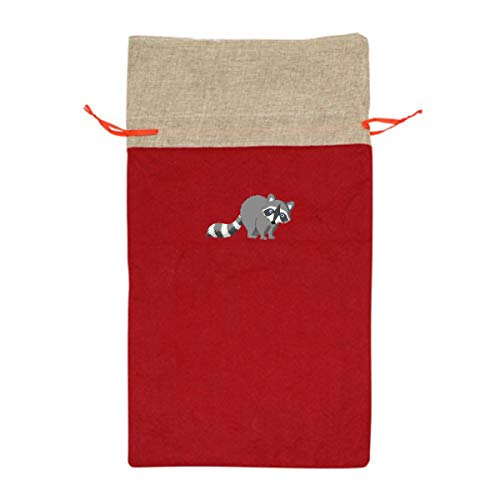 VAbBUQBWUQ Raccoon Cartoon Drawing Santa Clause Christmas Oversize Drawstring Gift Bags Holiday Wrapping Extra Large Jumbo Huge Goodie Party Favors Reusable Durable Fabric -