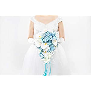 Abbie Home Light Blue Calla Lily White Dahlia Cascading Bridal Bouquets - Silk Flowers for Beach Wedding with Ribbon and Lace Décor (A Cascading Bouquet) 1