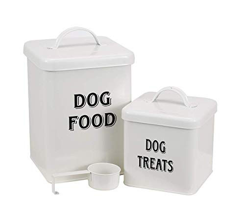Dog Food and Treats Containers Set with Scoop for Dogs - Vintage Cream Powder-Coated Carbon Steel - Tight Fitting Lids - Storage Canister Tins Small