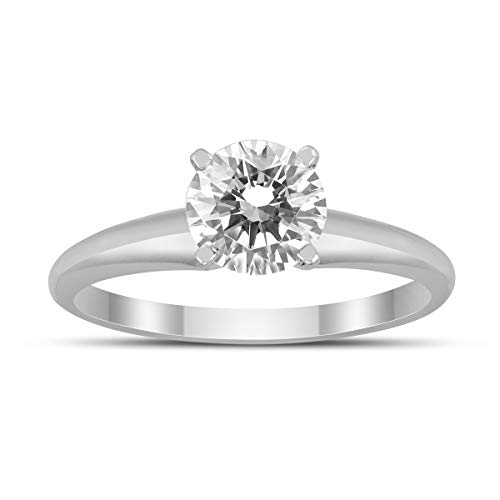 AGS Certified 1 Carat Diamond Solitaire Ring in 14K White Gold (J-K Color, I2-I3 Clarity) (Carat Diamond Rings 1)