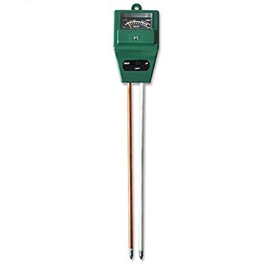 Soil Detector,3-in-1 Soil Moisture Meter with Plant Light & PH Test Gauge Function, Suitable for Soil Testing PH Acidity,Moisture & Sunlight,Indoor/Outdoor Garden Plant Flowers,No Battery Need