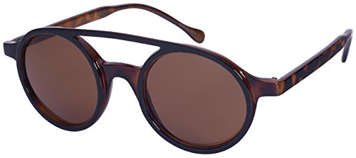 Edge I-Wear Retro Inspired Steampunk Round Frame Plastic Sunglasses - Two Colored With Different Sunglasses Lenses