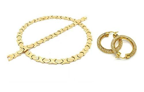 - SPARKLE XOXO Womens 14k Gold Finish Wide Hugs & Kisses Necklace Bracelet and Earring Set with Iced Out Filigree Hoop Earrings (20.00)