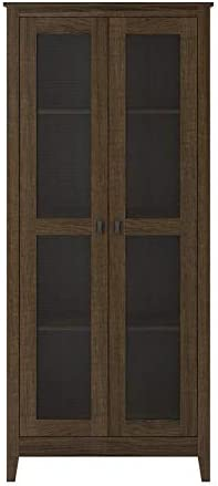 SystemBuild 31.5 Wide Storage Cabinet with Mesh Doors in Brown Oak