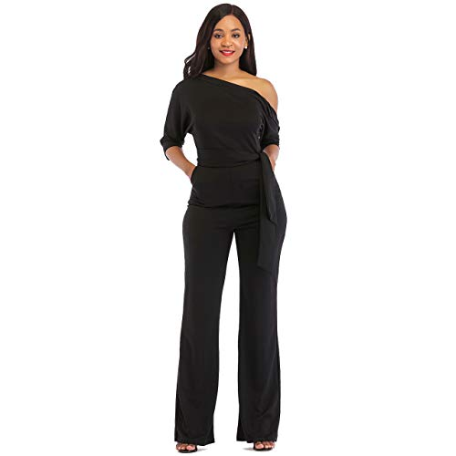 One Shoulder Jumpsuits for Women Elegant Night Sexy Casual Summer Rompers Dress Wide Leg Long Pants Plus Size Black M