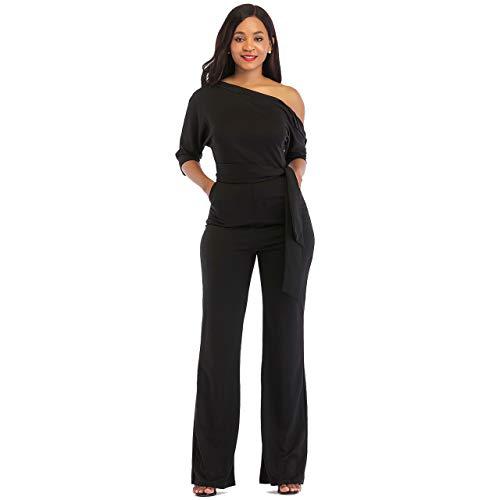 312d7d87e2c Apparel. One Shoulder Jumpsuits for Women Elegant Night Sexy Casual Summer Rompers  Dress Wide Leg Long Pants Plus Size Black XXL