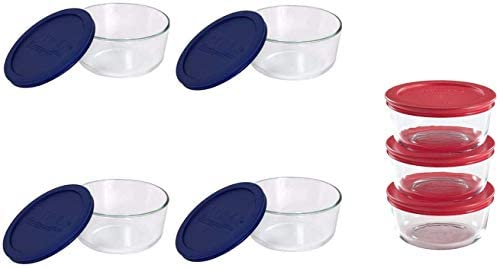 Clear Pyrex Storage 4-Cup Round Dish with Dark Blue Plastic Cover Case of 4 Containers