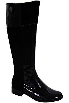 Saphir Boutique Damen niedriger Absatz Patent Veloursleder Contrast Damen  schwarz Schuhe Kniehohe Stiefel: Amazon.de: Schuhe & Handtaschen