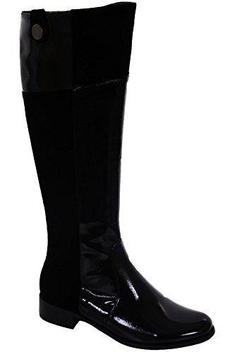 High Knee Low Women's Patent Contrast SAPPHIRE BOUTIQUE Shoes Boots Heel Black Black Suede Ladies xTU1wWPWqR