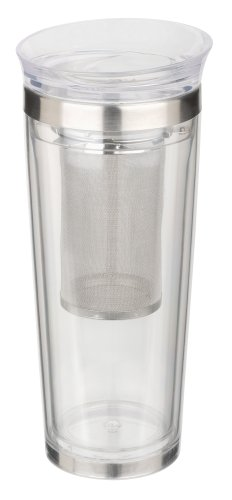 Trudeau Tea-riffic 16-Ounce Travel Tea Tumbler, Clear