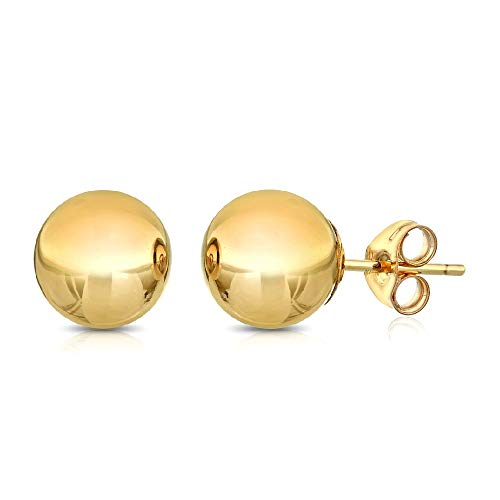 14k Gold Backing - Premium 14K Gold Ball Stud Earrings - Butterfly Backings 3mm-8mm (Yellow, 7)