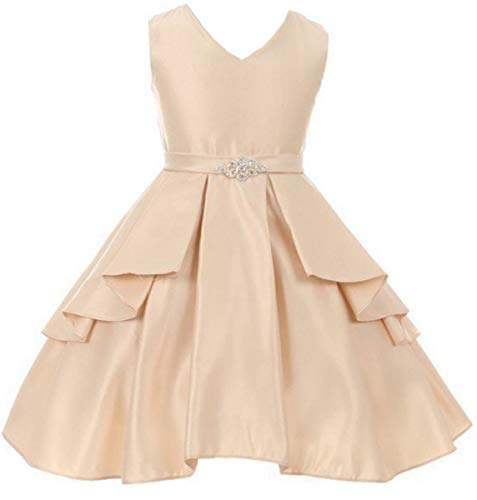 Big Girls' Solid Dull Satin Overlays Brooch Sash V Neck Flower Girl Dress Champagne 10 (G35G71) ()
