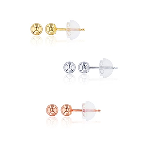 Decadence 14K Tricolor 4mm YWR Ball Earrings Stud Set with Silicone Backs, 4 ()