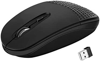 US1984 Smart 1600DPI Mini Portable 2.4G Wireless Rechargeable Optical Mouse with Auto-Sleep Power; Turbo Fast Charging; Silent Click for PC Laptop and Desktop (Black)