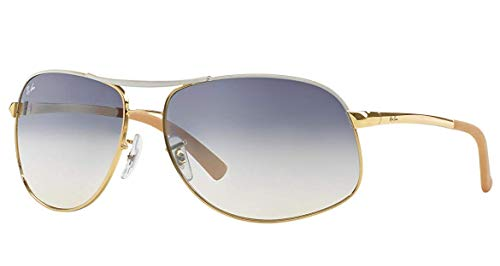 Ray-Ban RB3387 - 077/7B Sunglasses Gold White w/ Blue/Silver Gradient Lens 64mm (Preis Ray-ban)