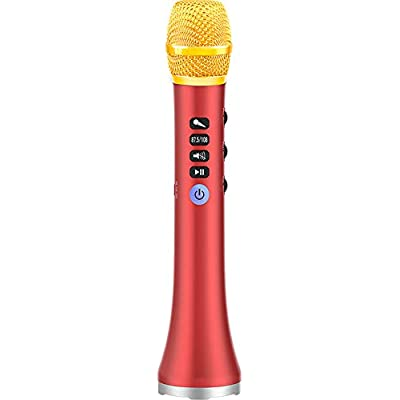 Dean Portable Karaoke Microphone  Bluetooth Microphone Player with Family KTV Outdoor Party Music Speaker  Voice Converter  Compatible with IOS and Android Smartphone Tablet-red