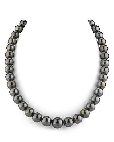 THE PEARL SOURCE 14K Gold 9-11mm Round Genuine Black Tahitian South Sea Cultured Pearl Necklace in 18