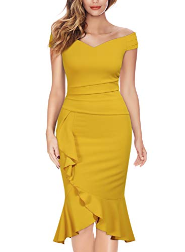 - Knitee Off Shoulder V-Neck Ruffle Pleat Waist Bodycon Evening Cocktail Slit Dress,XX-Large,Yellow