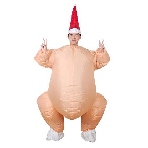 DENTRUN Men's Adult Inflatable Costume Cooked Turkey Unisex Christmas Suit -