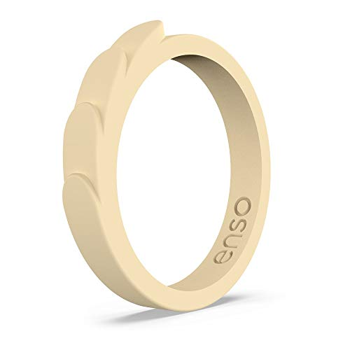 Enso Rings Feather Stackable Silicone Ring | Lifetime Quality Guarantee | The Premium Fashion Forward Silicone Ring | Comfortable, Breathable, and Safe (Sunlight, 6) (Forward Fashion 6 Light)