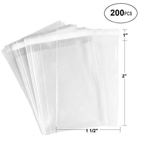 888 Display® - 200 Bags of Ultra Clear Treat, Bakery, Candle, soap, Cookie Bags w/Adhesive Seal (1.5