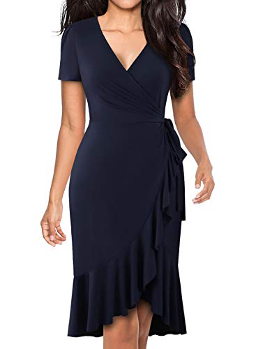 BOKALY Women's Summer Dresses Classic Ruffle Deep V-Neck Short Sleeve Solid Stretchy Cotton Knit Party Cocktail Dresses for Women (M, BK505-Navy)