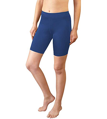 (AERO|TECH|DESIGNS Women's Spandex Exercise Compression Short Running, Yoga, Workout Fitness Shorts Navy Blue Medium)