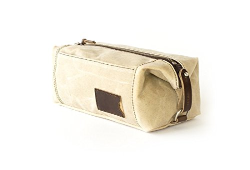 Waxed Canvas Dopp Kit: Large, Expandable, water-resistant, Hanging Toiletry Bag, Travel, Natural - No. 349 (Made in the USA) by Sivani Designs