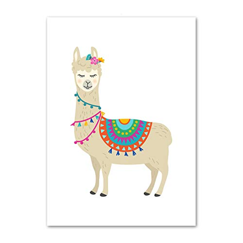 Used, Be fearless Cartoon Llama Cactus Nursery Art Prints for sale  Delivered anywhere in USA