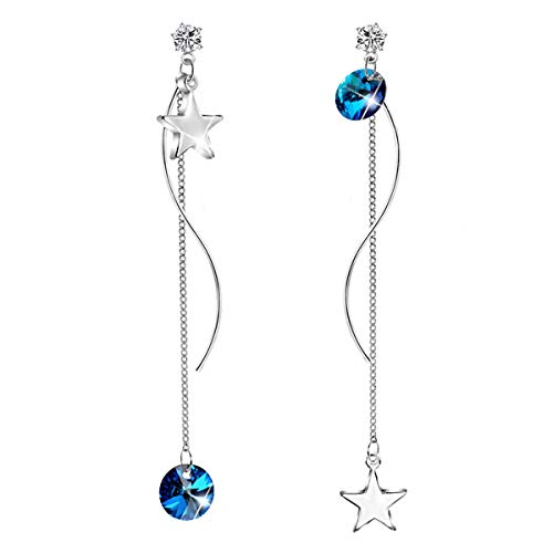 CRYSLOVE 925 Sterling Silver Star Drop Earrings Crystal Earrings for Women and Girls Birthday Christmas Mother's Day