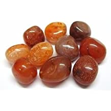 CRYSTALMIRACLE Beautiful Ten Carnelian Tumbled Stones Psychic Energy Reiki gift wellness gemstone feng shui home office peace of mind crystal healing positive energy meditation success