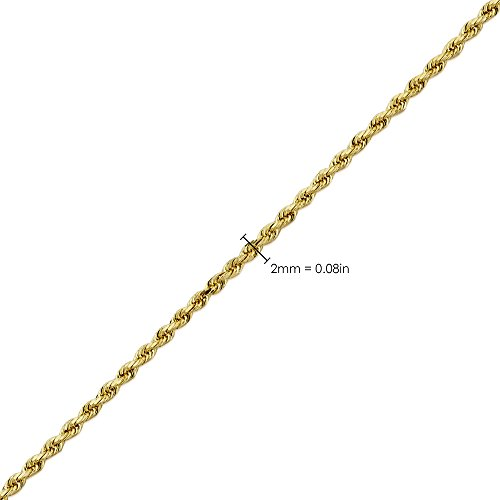 LoveBling 14K Yellow Gold 2mm 18'' Solid Diamond Cut Rope Chain Necklace with Lobster Lock by LOVEBLING (Image #4)