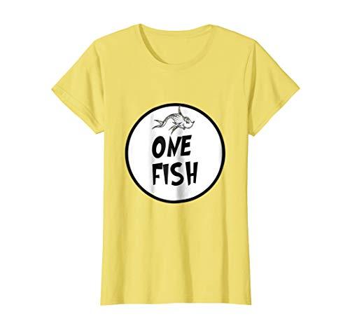 Womens Cute Rhyming One Fish T-shirt | Matching Croup Costume Small -