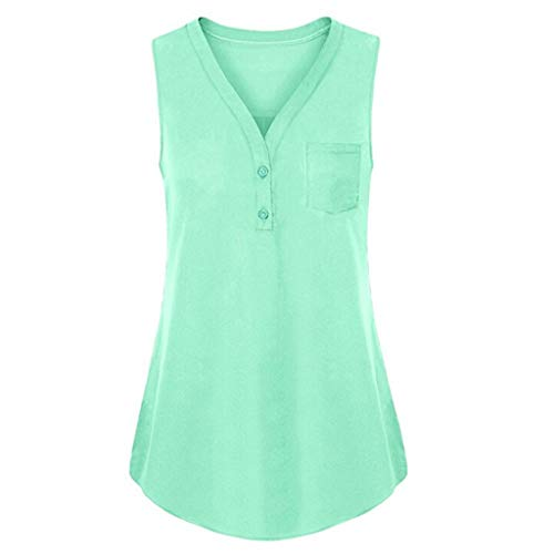 Sunhusing Women's Solid Color Sleeveless Vest Summer Loose Button Buckle V-Neck Tank Top Green