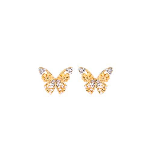 JUICY GRAPE Enamel Butterfly Stud Earrings for Women, Gold Plated Stud with Sterling Silver Needle