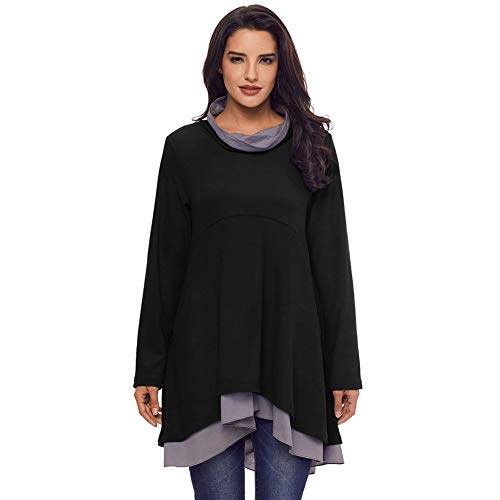 Collar Sleeve Long Waist Blouse Shirt Women's High Black T xBwf57