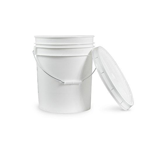 5 Gallon Janitorial White Bucket with LId - Durable 90 Mil All Purpose Sanitation Supplies Pail - Multi-Purpose Industrial Buckets (Pack of 60) by ePackageSupply