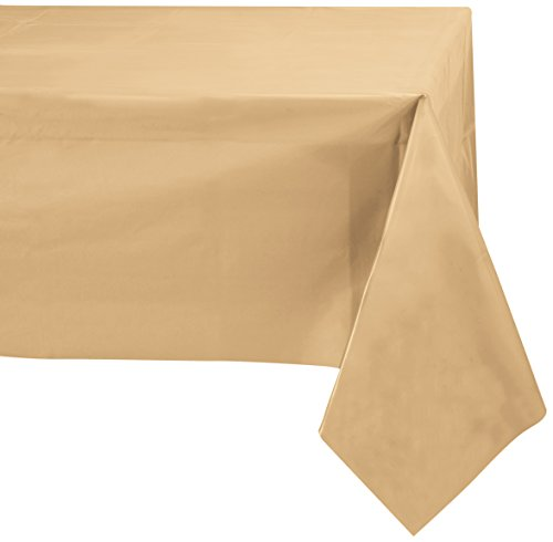 Jubilee 54-Inch-By-108-Inch PEVA Table Cover, 4 Count, Gold