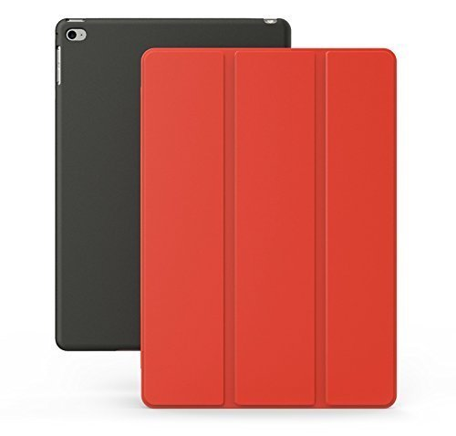 KHOMO iPad Air 2 Case - Dual Series - Ultra Slim Cover with Auto Sleep Wake Feature for Apple iPad Air 2nd Generation Tablet, Red-Black (ip-air-2-rb-2) (Best Rated Ipad 2 Cases)