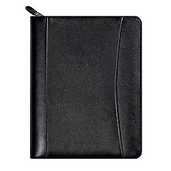 FranklinCovey Sedona Leather Organizer Deluxe Starter Set, 5-1/2'' x 8-1/2'', Black