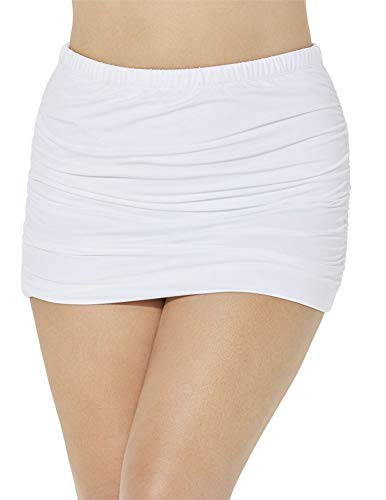 Swimsuits For All Women's Plus Size Shirred High Waist Skirt Swim Bottom 16 White