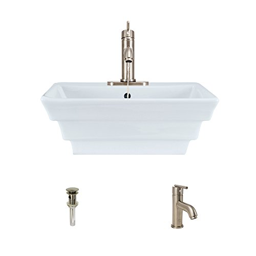V160-White Porcelain Vessel Sink Brushed Nickel Ensemble with 753 Vessel Faucet (Bundle - 3 Items: Sink, Faucet, and Pop Up Drain)