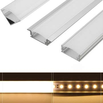 45CM U/V/YW Style Aluminum Channel Holder For LED Rigid Strip Bar Cabinet Lamp - LED Strip LED Strip Accessories - (U) - 1 x Aluminum Holder, 1 x PC Cover, -