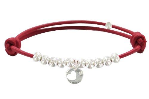 Les Poulettes Bijoux - Bracelet Lien Médaille Coeur et Perles en Argent -Lien Rouge